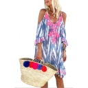 Unique Zigzag Stripe Printed V-Neck Cold Shoulder Loose Relaxed Beach Dress