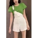 Women's Trendy White Plain Sleeveless Drawstring Loose Wide Legs Overall Romper