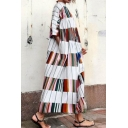 Women's New Trendy White Stripes Print Round Neck Half Sleeve Loose Oversized Maxi Dress