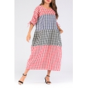 Women's New Trendy Round Neck 3/4 Length Sleeve Color Block Plaid Maxi Oversize Cotton Dress