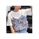 Summer Girls Unique Sequined Cami Patched Fake Two-Piece Short Sleeve T-Shirt