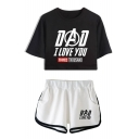 Fashion Letter DAD I LOVE YOU THREE THOUSAND Print Cropped Tee Casual Loose Shorts Summer Sport Two-Piece Set
