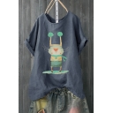 Hot Fashion Cartoon Mouse Printed Short Sleeve Round Neck Loose Tee For Women