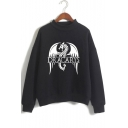 Hot Trendy Dragon Dracarys Pattern Mock Neck Long Sleeve Pullover Sweatshirt