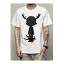 Funny Cartoon Blood Deer Printed Basic Round Neck Short Sleeve Summer White Tee