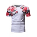 New Stylish Floral Printed Round Neck Short Sleeve T-Shirt For Men