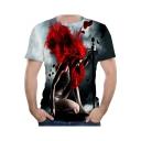 Summer Hot Popular 3D Figure Printed Basic Round Neck Short Sleeve T-Shirt For Men