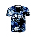 New Style 3D Floral Leopard and Lion Animal Printed Round Neck Short Sleeve Black Basic T-Shirt For Men