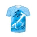 New Stylish 3D Dolphin Printed Basic Round Neck Short Sleeve Blue Casual T-Shirt