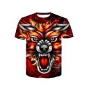 Men's Unique 3D Tiger Printed Basic Round Neck Short Sleeve Orange T-Shirt