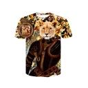 Men's New Fashion 3D Leopard Cartoon Printed Basic Round Neck Short Sleeve Yellow T-Shirt