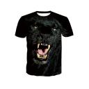 Hot Fashion 3D Panther Printed Basic Round Neck Short Sleeve Black T-Shirt For Men