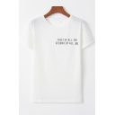 Simple Letter First Of All Basic Round Neck Short Sleeve Unisex Casual Loose Tee