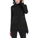 Womens Simple Solid Color Turtleneck Long Sleeve Pocket Patched Asymmetrical T-Shirt