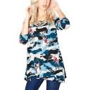 Womens New Trendy Unique Floral Camo Printed Crisscross V-Neck Half Sleeve T-Shirt