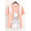 Lovely Cartoon Cat Printed Girls Simple Round Neck Short Sleeve T-Shirt