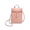 Trendy Solid Color Zipper Designed Crossbody Cell Phone Wallet 14*5.5*19 CM