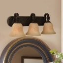 Vintage Style Bell Wall Light Metal Glass 3 Lights Rust Sconce Light for Bedroom Dining Room