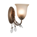 Country Style Bell Sconce Light Metal 1/2/3 Lights Wall Lamp with Crystal Leaf for Living Room