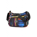 Fashion colored Printed Waterproof Nylon Lightweight Black Crossbody Shoulder Bag 28*11*21 CM