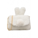 Lovely Solid Color Rabbit Ear Patched Plush Crossbody Bag with Chain Strap