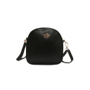 Simple Plain Crown Embellishment Long Strap Crossbody Shoulder Bag 19*7.5*17.5 CM