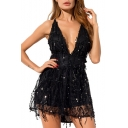 Womens New Stylish Open Back Sexy Plunged V-Neck Mini A-Line Cami Sequined Dress