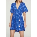 Summer Trendy Blue Floral Printed Surplice V-Neck Tied Waist Mini A-Line Dress