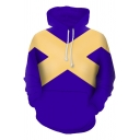 New Stylish Blue and Yellow Letter X Colorblock Long Sleeve Pullover Hoodie