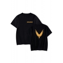 Simple Letter SAVAGE Bird Printed Basic Round Neck Short Sleeve Casual Tee