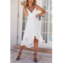 Women's New Trendy Polka Dot Printed V-Neck Sleeveless Ruffle Detail Backless Bow-Tied Waist Midi Cami White Dress