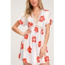Women's Hot Fashion V-Neck Short Sleeve Lace Cut Out Tie-Back Floral Print Mini A-Line Chiffon Dress