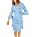Women's Elegant Polka Dot Print Ruffle Detail 3/4 Sleeve V-Neck Midi A-Line Blue Party Dress