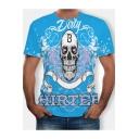 Stylish Summer Letter Cartoon Skull Print Round Neck Short Sleeve Blue Slim Fit Graphic T-Shirt