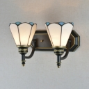 Dining Room Cone Sconce Light Glass 2 Lights Tiffany Style Antique White Sconce Wall Light