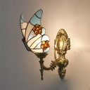 Stained Glass Butterfly Sconce Light Bedroom Foyer One Light Tiffany Style Vintage Wall Lamp
