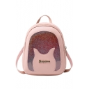 Cartoon Patched Transparent Sequin Utility Crossbody Shoulder Bag 17*7*20 CM