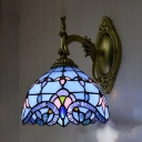 1 Light Dome Sconce Light Tiffany Style Baroque Stained Glass Wall Lamp for Hallway Stair