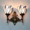 Flower Living Room Sconce Light Stained Glass 2 Lights Tiffany Style Antique Wall Light