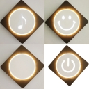 Circle/Note/Smile/Switch Sconce Light Simple Style Acrylic LED Wall Light in Warm for Study Room