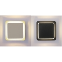 Acrylic Square LED Wall Light Bedroom Hallway Simple Style Black/White Sconce Lamp in Warm