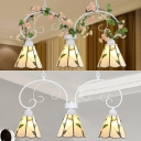 Glass Cone Shade Pendant Lamp Restaurant Hotel 3 Lights Rustic Style Chandelier with/without Flower