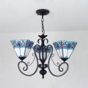 Tiffany Style Craftsman Chandelier 3 Lights Stained Glass Hanging Light Pendant Light for Bedroom