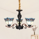 Craftsman Suspension Light 3 Lights Tiffany Style Stained Glass Chandelier for Study Room Hallway