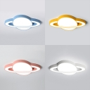 Planet Child Bedroom Ceiling Mount Light Acrylic Creative Blue/Pink/White/Yellow LED Ceiling Light with White Lighting