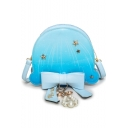 New Fashion Galaxy Starry Sky Stars Ombre Printed Pearl Bow Embellishment Crossbody Handbag 20*7*18 CM