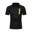 Men's Simple Plain Fashion Zip Pocket Patched Short Sleeve Polo Shirt