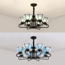 6/8 Lights Dome Shade Chandelier Vintage Style Glass Pendant Lamp in Blue for Hotel