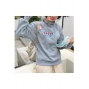 Letter Print Contrast Trim Stripes High Neck Long Sleeve Fake Two Pieces Pullover Sweatshirt for Girls