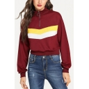 New Stylish Striped Print Patched Zip Up Front High Neck Long sleeve Burgundy Sweatshirt